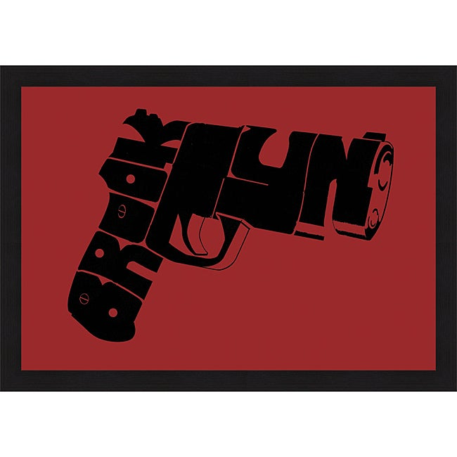 L A  Pop Art 'Gun from Brooklyn' Framed Print