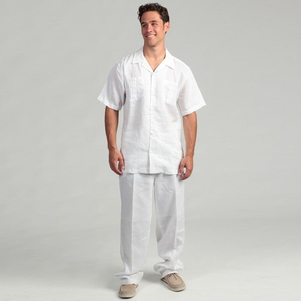 Steve Harvey Men's White Shirt and Pant Linen Set - Free Shipping ...