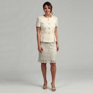 Tahari ASL Women's Luxe Novelty Lace Skirt Suit