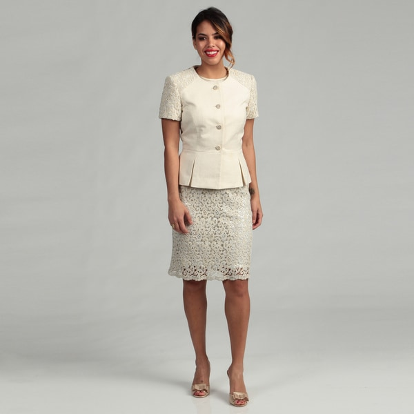 Tahari ASL Women's Luxe Novelty Lace Skirt Suit