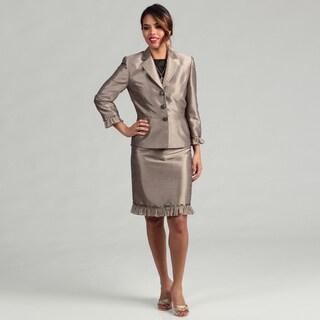 Tahari ASL Women's Taupe/ Beige Luxe Skirt Suit
