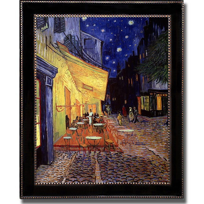 Vincent Van Gogh 'Cafe Terrace at Night' Framed Vertical Canvas Art