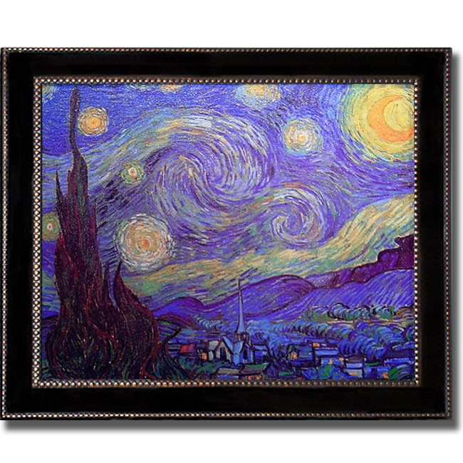 Vincent Van Gogh 'Starry Night' Large Framed Canvas Art - Thumbnail 0