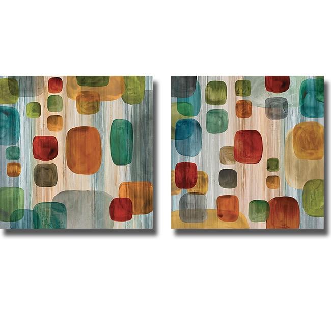 Angela Perry 'Suspended Gems I & II' 2-piece Canvas Art Set