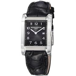 Baume & Mercier Men's M0A10019 'Hampton' Black Dial Black Leather Strap Watch