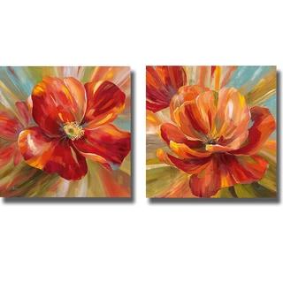 Nan 'Island Blossom I and II' 2-piece Canvas Art Set