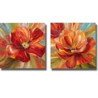 Nan 'Island Blossom I and II' 2-piece Canvas Art Set - Multi