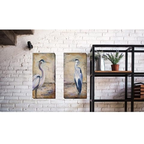 Patricia Pinto 'Blue Heron I and II' 2-piece Canvas Art Set (24 in x 12 in Each Canvas in Set, Ready to Hang)