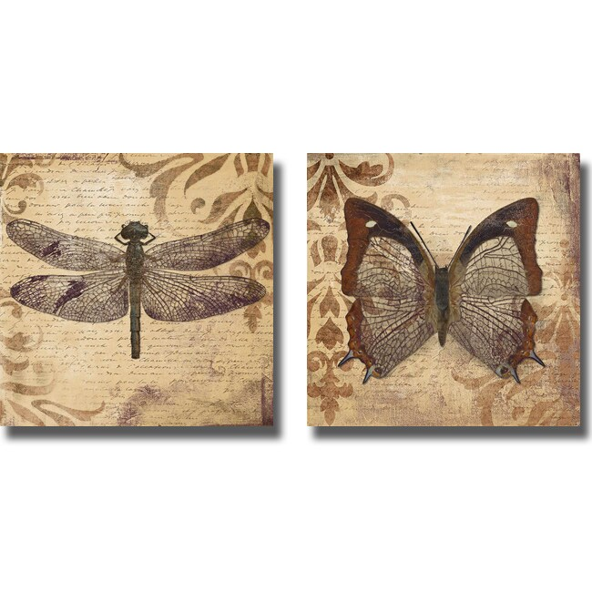 Patricia Pinto 'Dragonfly and Butterfly' 2-piece Canvas Art Set