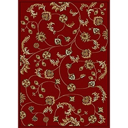 Admire Home Living Amalfi Vines Red Area Rug (5'5 x 7'7)