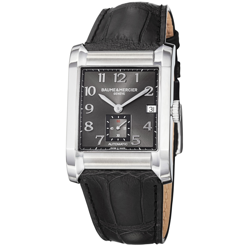Baume & Mercier Men's 'Hampton' Grey Dial Black Leather Strap Watch