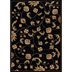Admire Home Living Amalfi Vines Black Area Rug (5'5 x 7'7)
