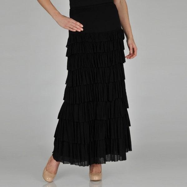 Chelsea & Theodore Women's Black Ruffle Maxi Skirt - Free Shipping ...