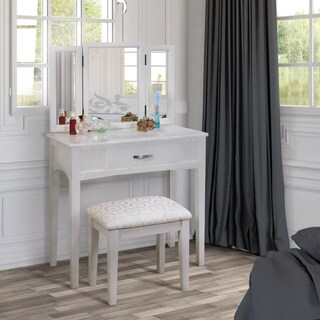 Furniture of America Jade Espresso-finished Solid Wood 2-Piece Vanity Table and Stool Set