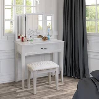 Furniture of America Jade 2-Piece Solid Wood Vanity Table and Stool Set|https://ak1.ostkcdn.com/images/products/6596142/P14167793.jpg?impolicy=medium