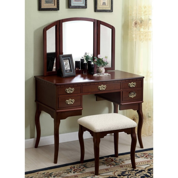 Shop Furniture Of America Doris Solid Wood Vanity Table
