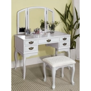 Bon Shop Furniture Of America Doris Solid Wood Vanity Table And Stool Set   On  Sale   Free Shipping Today   Overstock.com   6596163