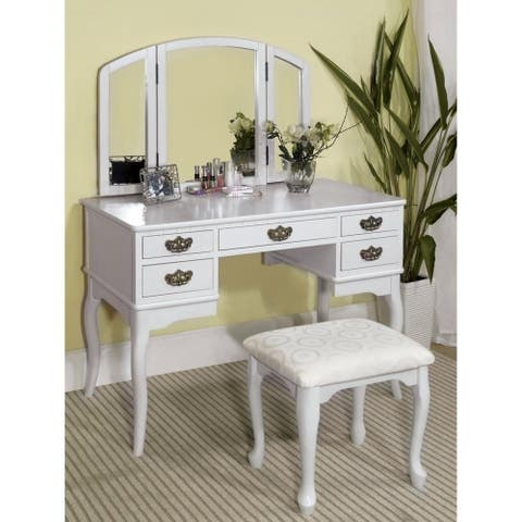 Doris Transitional Cherry 2-piece Vanity Table and Stool Set by FOA