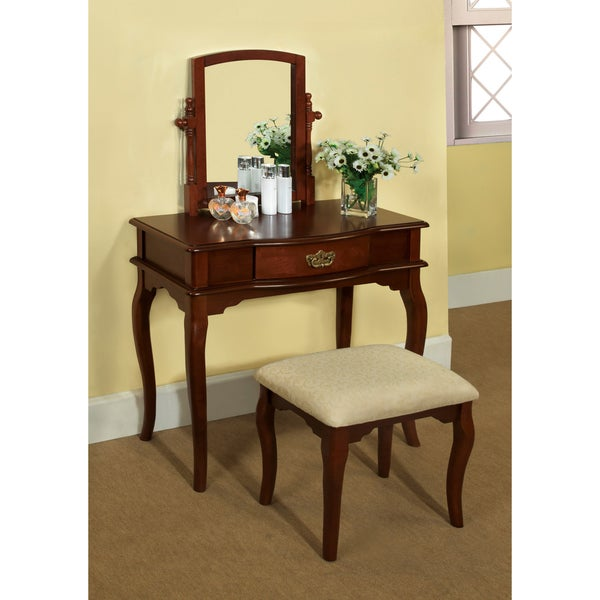 Marvelous Lorena 2 Piece Solid Wood Vanity Table And Stool Set
