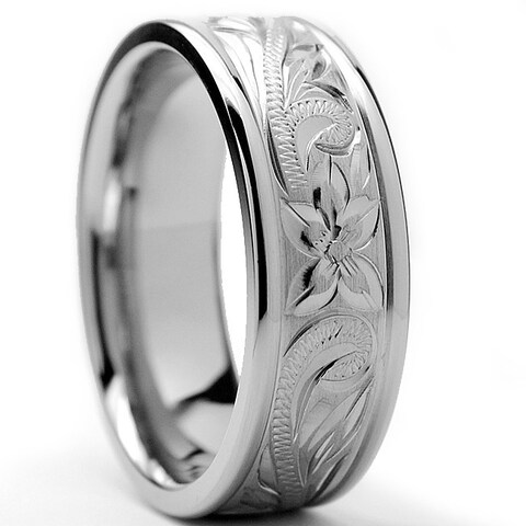 Oliveti Titanium Men's Engraved Floral Design Ring (8 mm)
