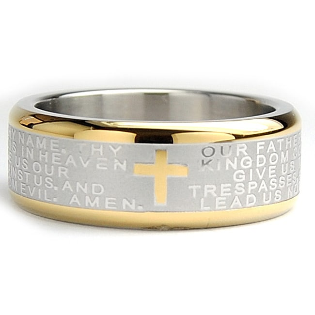 Oliveti Goldplated Stainless Steel Lord's Prayer Ring (8 mm) - Thumbnail 0