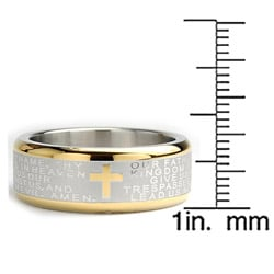 Oliveti Goldplated Stainless Steel Lord's Prayer Ring (8 mm)