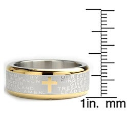 Oliveti Goldplated Stainless Steel Lord's Prayer Ring (8 mm) - Thumbnail 2