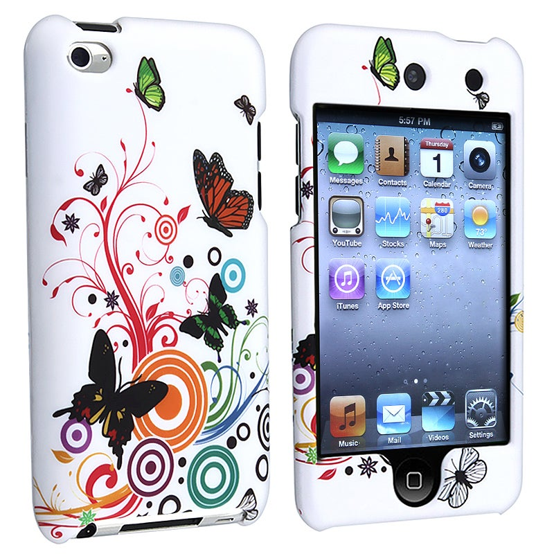 MYBAT White Autumn Flower Case for Apple iPod Touch 4th Generation