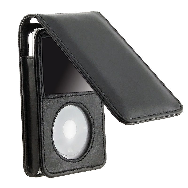 INSTEN Black Leather iPod Case Cover with Strap for Apple iPod Video 30GB