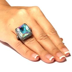 28.95 TCW Emerald-Cut Aurora Borealis Cubic Zirconia Black Rhodium-Plated Cutout Ring Bold
