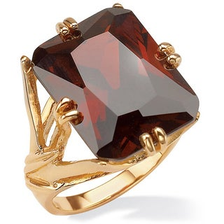 25.90 TCW Emerald-Cut Red Cubic Zirconia Gold-Plated Branch Ring Color Fun