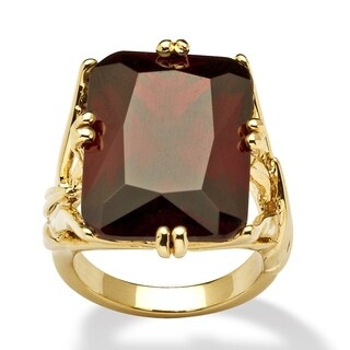 Yellow Gold-plated Red Cubic Zirconia Branch Ring