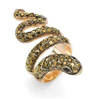 Round Brown and Black Crystal 14k Yellow Gold-Plated Coiled Snake Ring Bold Fashion