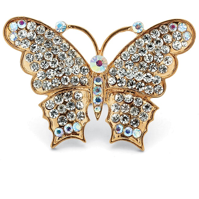 Lillith Star 14k Goldplated Crystal Butterfly Stretch Ring