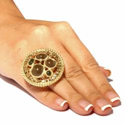 Lillith Star Goldtone Simulated Chalcedony and Crystal Stretch Ring - Thumbnail 2