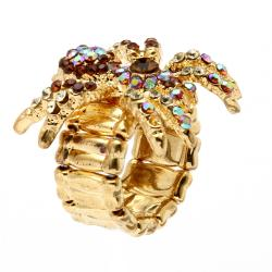 PalmBeach Multicolor Crystal Spider Stretch Ring in Yellow Gold Tone Bold Fashion - Thumbnail 1