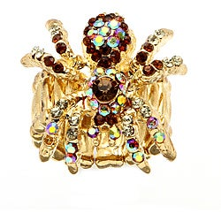 PalmBeach Multicolor Crystal Spider Stretch Ring in Yellow Gold Tone Bold Fashion