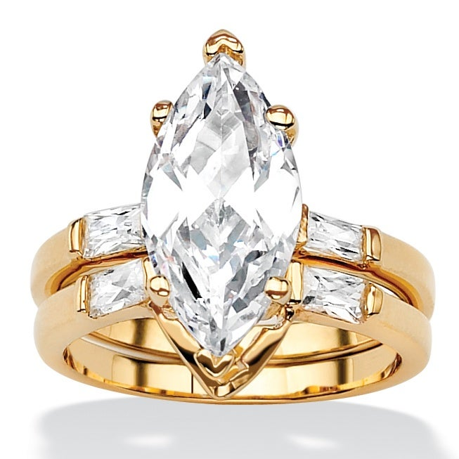 442 TCW Marquise Cut Cubic Zirconia Gold Plated Bridal Engagement Ring Wedding Band S