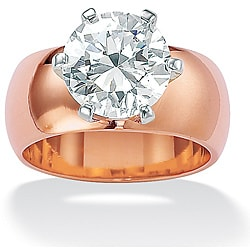 PalmBeach 4 TCW Round Cubic Zirconia Solitaire Ring in Rose Gold-Plated Glam CZ
