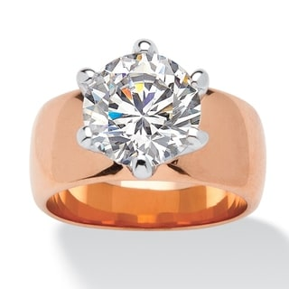 4 TCW Round Cubic Zirconia Solitaire Ring in Rose Gold-Plated Glam CZ