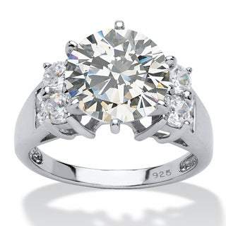 Platinum Over Sterling Silver Cubic Zirconia 3 Stone Bridal Ring White