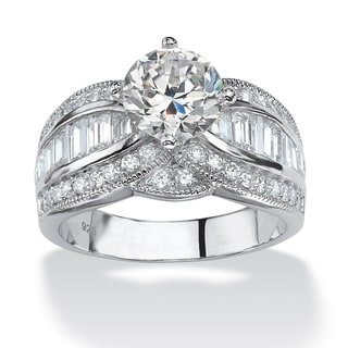 3.84 TCW Round Cubic Zirconia Platinum over Sterling Silver Engagement Anniversary Ring Gl