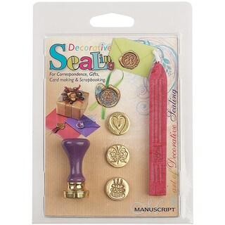 Decorative Sealing Set with Pink Wax-Butterfly, Cake & Heart Coins