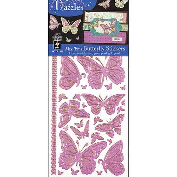 Dazzles Stickers Tri-color Butterflies Mixems