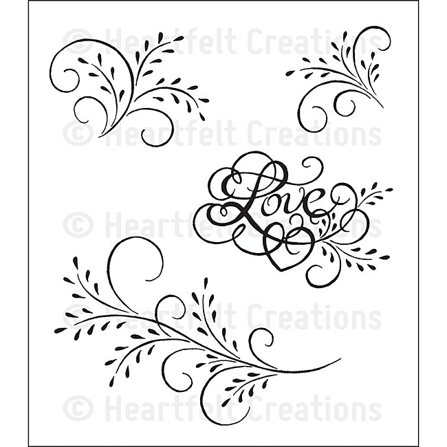 Heartfelt Creations 'Feather Glass Flourish' Cling Rubber Stamp Set