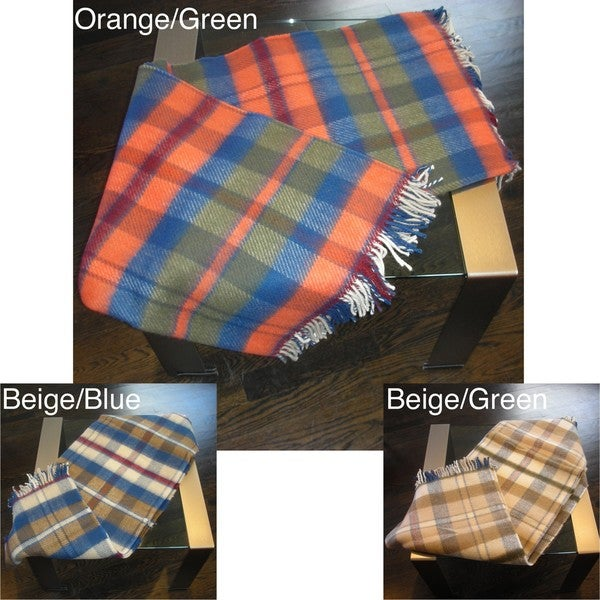 Oversized Rainbow Plaid Throw
