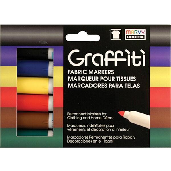 Graffiti Fabric Marker 5/Pkg-Primary