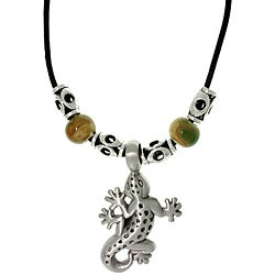 Carolina Glamour Collection Pewter Unisex Gecko and Glazed Porcelain Bead Necklace