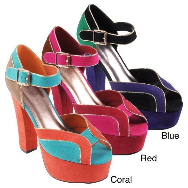Hailey Jeans Co Women's 'Bunny' Multi-colored Platform Heels