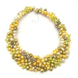 Green Passion Freshwater Dyed Pearls Bib Necklace (Thailand)